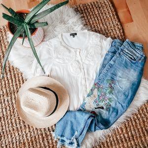 Floral short sleeve cardigan